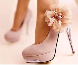 flower, high heels, and pink image