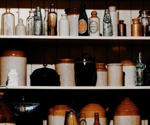 antique, bottles, and cabinet image