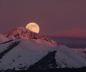 mountains, moon, and landscape image