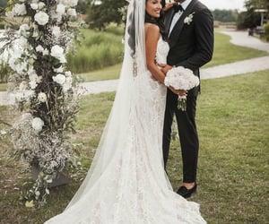 fashion, boho wedding dress, and wedding dress image