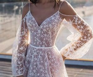 bridal, beach wedding dress, and wedding image