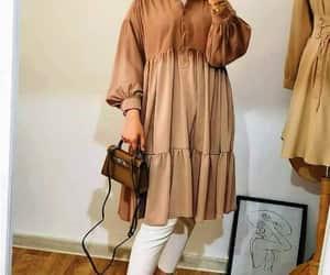 hijab fashion, ruffle blouse, and beige blouse image