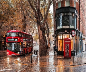 autumn, red bus, and city image