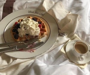 food, coffee, and waffles image