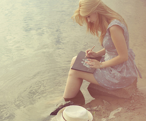 girl, water, and blonde image