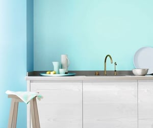 beige, Bleu, and kitchen image