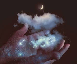 clouds, glitter, and hands image
