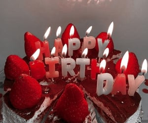cake, candle, and red image