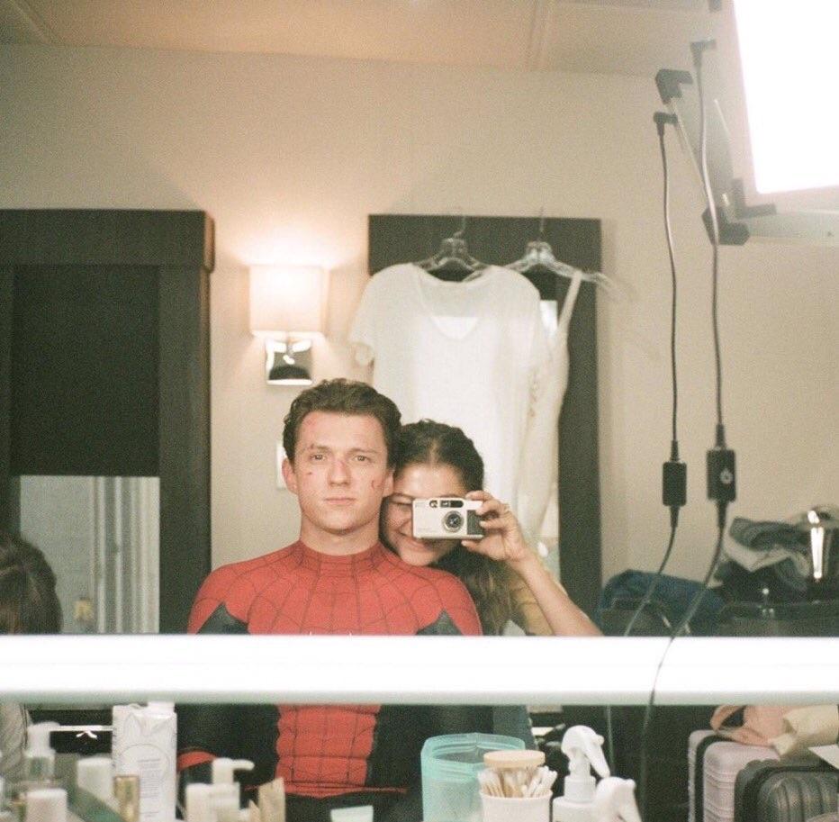 tom holland, zendaya, and spiderman image