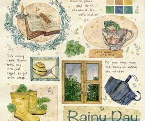 book, four-leaf clover, and rainy image