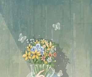 beautiful, butterflies, and flowers image