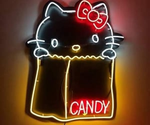 hello kitty, light, and neon image