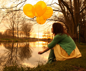 girl, balloons, and yellow image