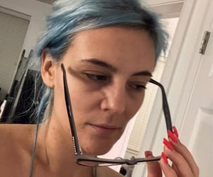 blue hair, glass, and topless image