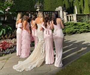 best friends, wedding, and bridesmaids image