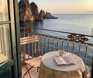 sea, view, and coffee image