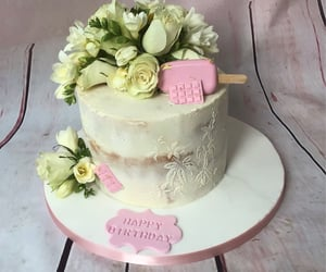 birthday, pink, and buttercream image