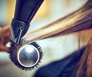 hair salon, blowdry, and hairdryer image
