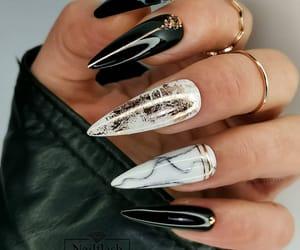 black nails, glam nails, and marble nails image