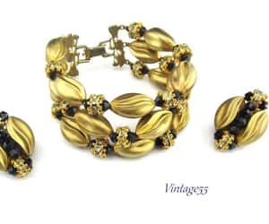 earrings, vintage55 on etsy, and rhinestones image