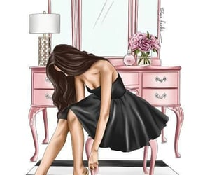 art, black dress, and dressing table image
