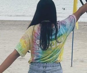 beach, girl, and tie dye image