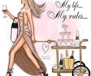 champagne, dress, and fashion illustration image