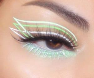 eye, eyeliner, and green image