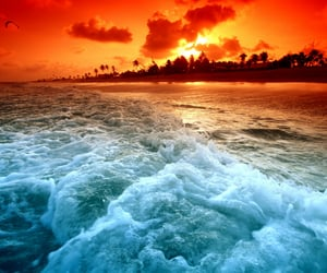 afterglow, dusk, and waves image