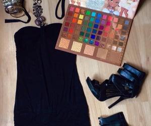 blackdress, cosmetics, and eyeshadowpalette image