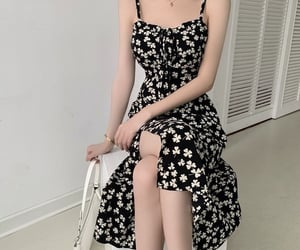 aesthetic, asian, and black dress image