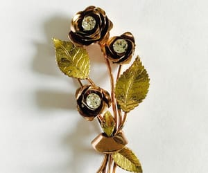 etsy, flower brooch, and yellow gold image