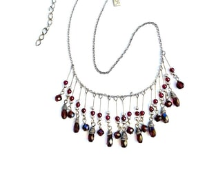 etsy, silver tone, and garnet red image