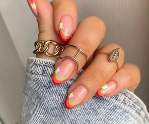 nails, rainbow, and fashion image