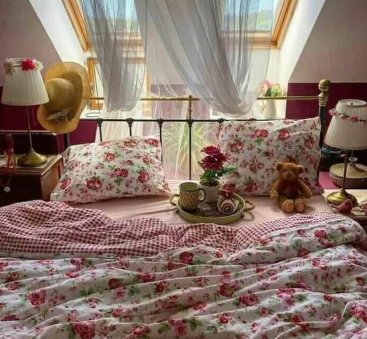bed, country, and cozy image