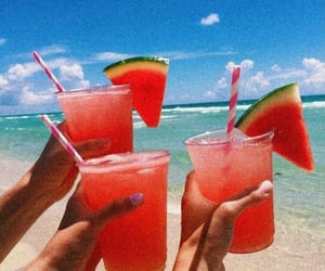 August, beach, and drink image