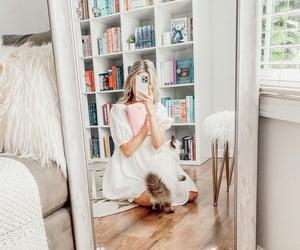 aesthetic, bookshelves, and white image