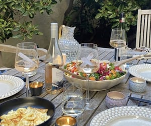 drink, salad, and table image
