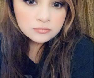 big eyes, black shirt, and cute girl image