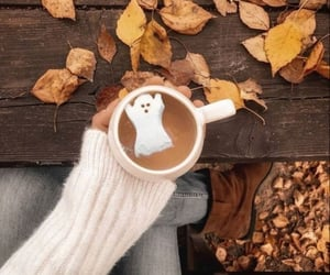hot coco, leaves, and ghost marshmallow image