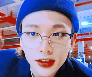 blue, red, and skz image