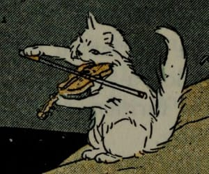cat, music, and violin image