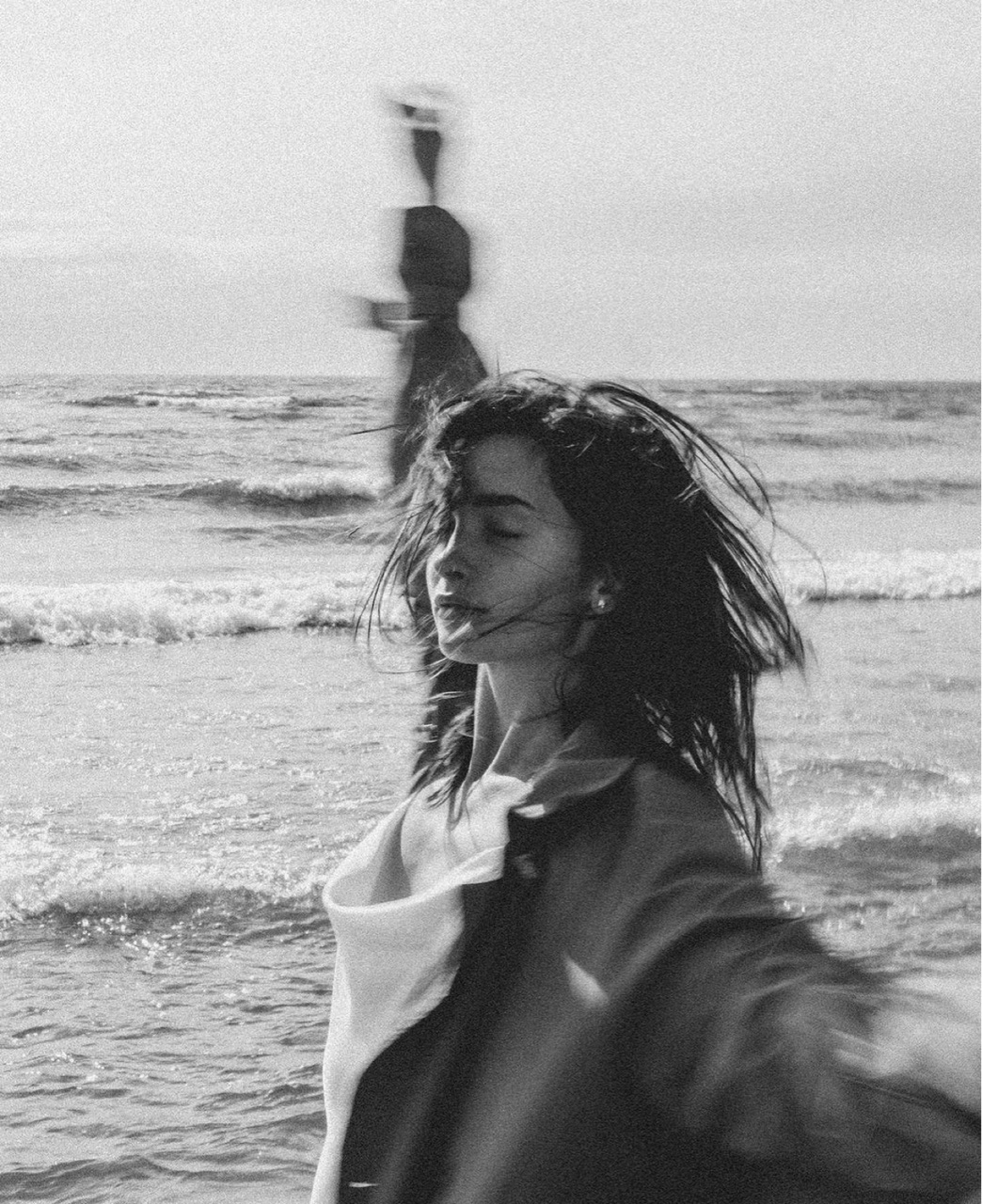 beach, black and white, and freedom image
