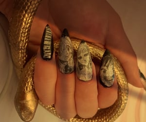 nails, almond nails, and snake image