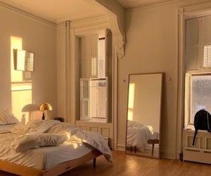 bedroom, design, and mirror image