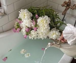 bathtub, beautiful, and peonies image
