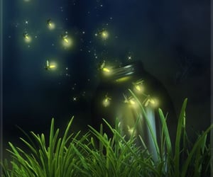 art, childhood, and fireflies image