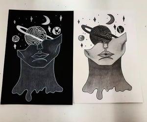 art, fall, and woman image