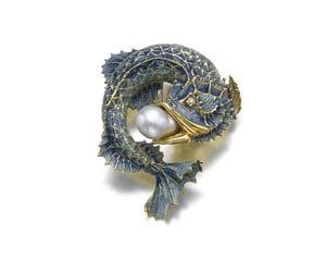 blue, pearl, and brooch image