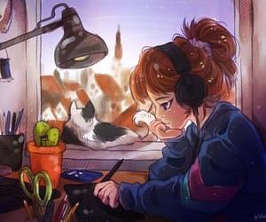cat, illustration, and study image